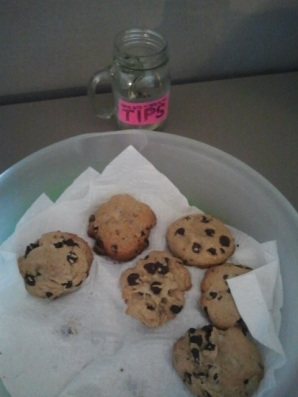 Cookies on the desk - don't forget to tip her!
