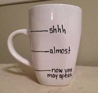 """when I get to the """"Now you may speak"""" for the second time you might want to take away the cup."""