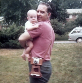 With hir first grandchild, my older brother Bruce, 1972