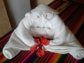 Housekeeping gets extra tip for incorporating Joe's reading glasses into the towel man.
