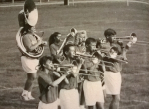 Marching band my junior year in HS (closest trombonist)